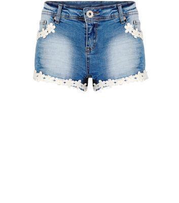 Parisian New Look Parisian Blue Daisy Trim Denim Hotpants #pants #covetme