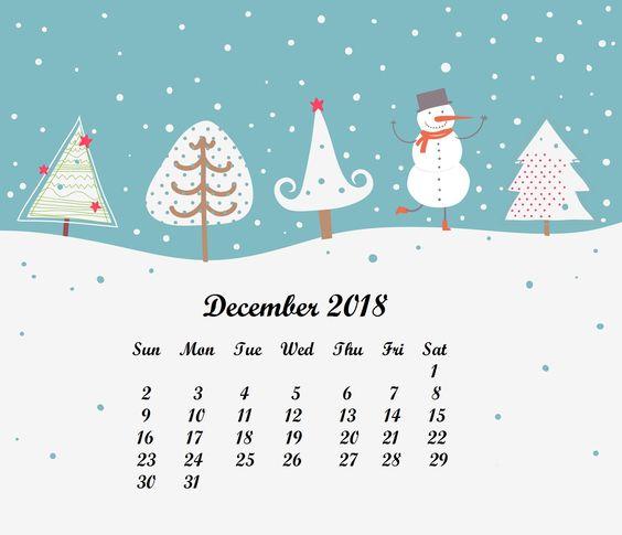 December 2018 HD Calendar Wallpaper