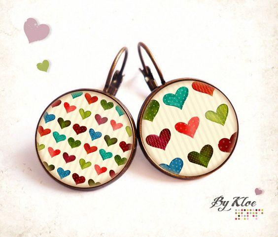 Bague Cabochon • Petits Coeurs • rayures vintage verre couleurs rétro