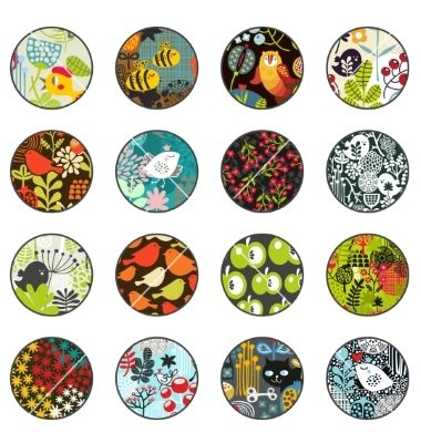 Circles with retro print patterns vector by ekapanova on VectorStock®