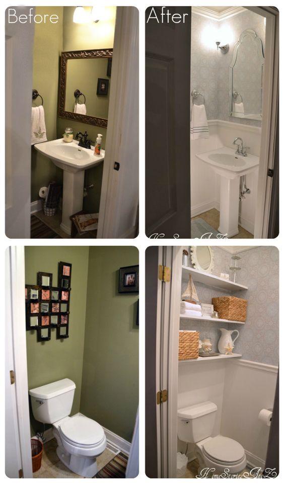 Powder room / half bath reveal. Home Stories A to Z.--So pretty!