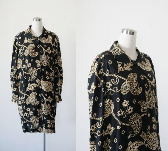 Liz Claiborne silk shirt dress, black paisley print vintage designer shirtdress M L