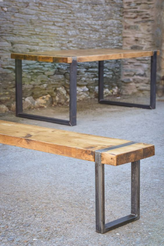 Industrial bench industrial and benches on pinterest for Metal benches for outdoors