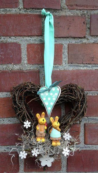 Türkranz - Herz - verliebte Hasen  von kunstbedarf24 auf DaWanda.com