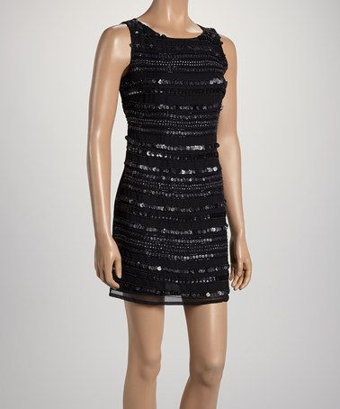 Another great find on #zulily! Black Sequin Stripe Sleeveless Dress by Black Collection #zulilyfinds