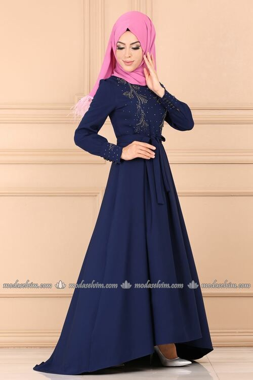 Modaselvim Abiye Incili Ve Kuyruklu Abiye 9308w153 Indigo Dresses Fashion Pakistani Fashion