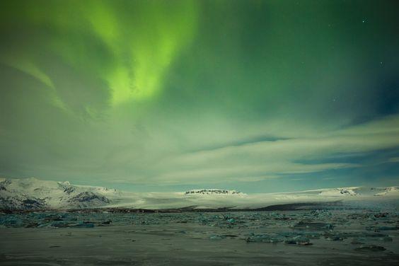 Northern lights! In Iceland at Jökusarlon.