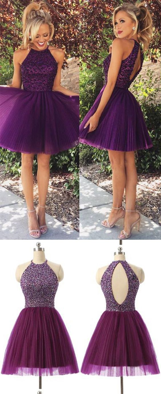 2016 New Arrival Open Back Purple Tulle Short Prom Dresses Homecoming Dress High Neck Halter Bodice Grape Mini Wedding Party Prom Gowns: