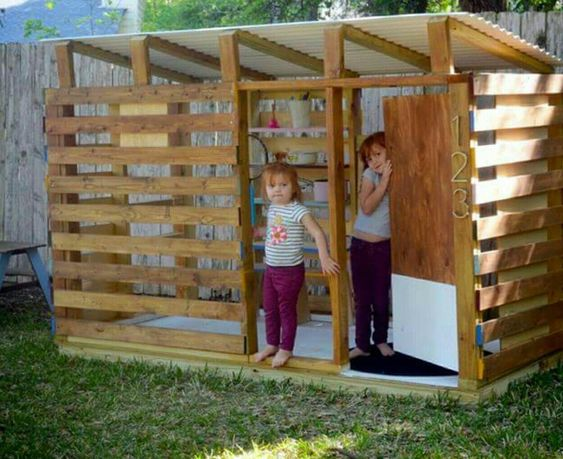 Pallet playhouse - perfect for airflow when it's hot outside