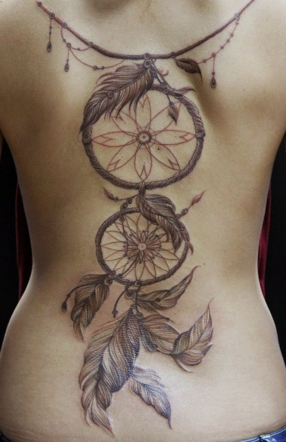 Dream catcher tattoo back tattoo