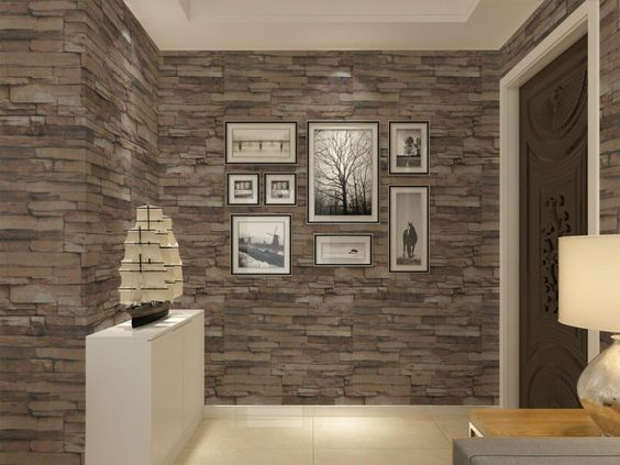 Vinyl Textured Embossed Brick Wall Wallpaper Modern 3d Stone Pattern Wallpape
