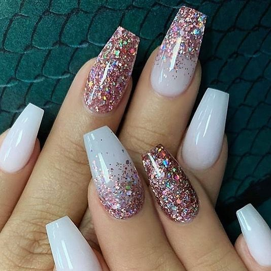 Melina On Instagram Milky White With Rose Gold Glitter On Coffin Nails Follow In 2020 Gold Acrylic Nails Rose Gold Nails Glitter Rose Gold Nails