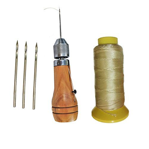 Leather /& Canvas Quick Stitch Sewing Awl Kit w// 4 needles /& 100yds Twine Thread