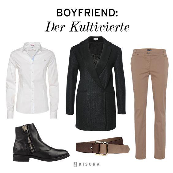 +++ Boyfriend Style +++ weißes Hemd, schwarze Lederstiefeletten, oversize Mantel, beige Anzughose, brauner Gürtel // white button down, black leather boots, oversized coat, beige dress pants, brown belt.