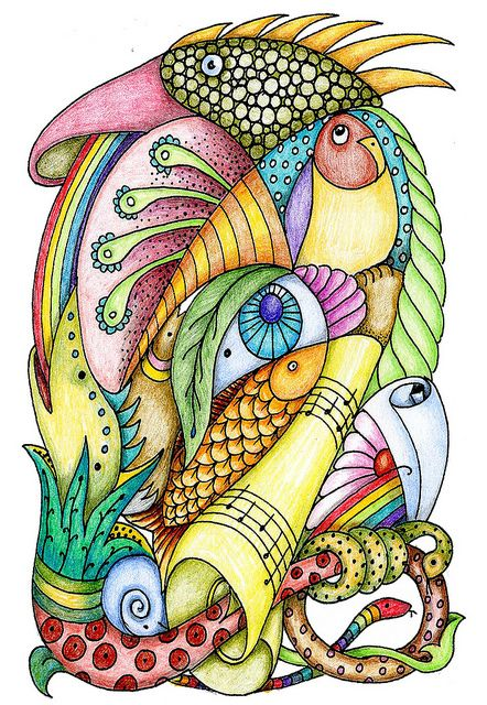 serpents and weirdos by bostinstuff, sheila arthurs via Flickr. Sharla Hicks Comments: I like the clarity of the color here.  Color pencil shading well done