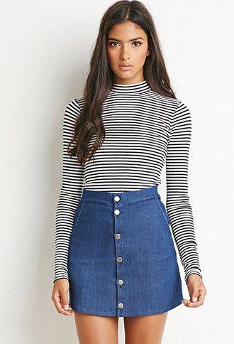 Buttoned Denim Skirt | Forever 21 | #forever21denim