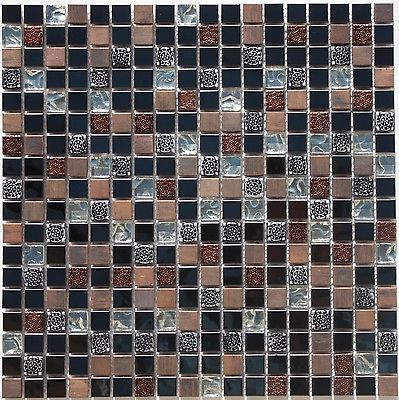 "Glass & Metal Mosaic Tile Sheet, 5/8""x5/8"", Silver Glass / Copper & Black Metal"
