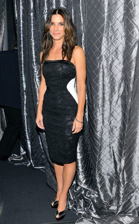 Sandra Bullock's flawless figure looks perfect in this slinky black-and-white…