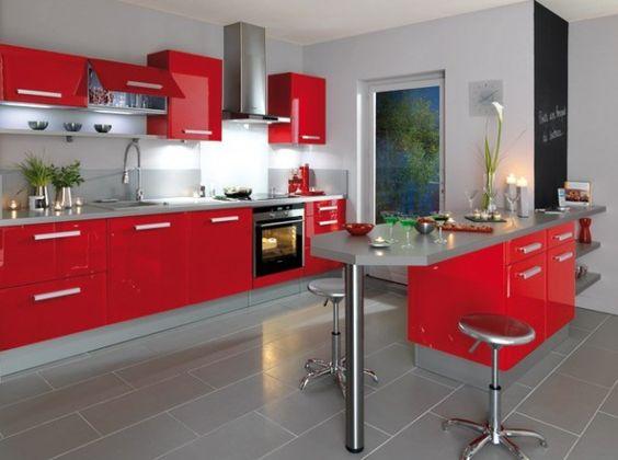 Cuisine rouge carmin home pinterest r novation de for Melamine adhesif pour cuisine