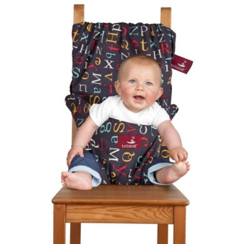 The Totseat the original travel seat 'for babies who lunch' this particular design is called Alphabet Soup! Various other yummy designs to choose from. Goes anywhere and fits an adult chair!
