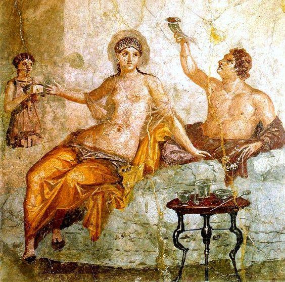 Ausschweifendes Mahl, Fresko aus Herculaneum  https://de.wikipedia.org/wiki/Esskultur_im_Römischen_Reich