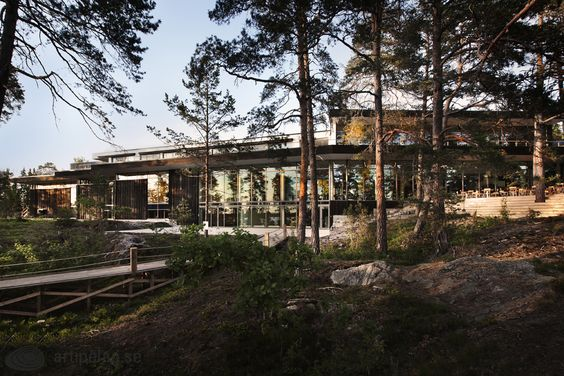Between the pine trees and the cliffs with a view over Baggen's Bay architect Johan Nyrén has managed to design a building in harmony with the surroundings. Artipelag, Värmdö, Sweden.