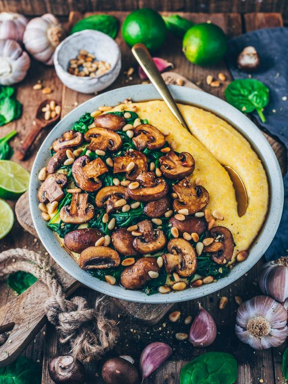 Creamy Vegan Polenta with Mushrooms, Spinach and Pine Nuts