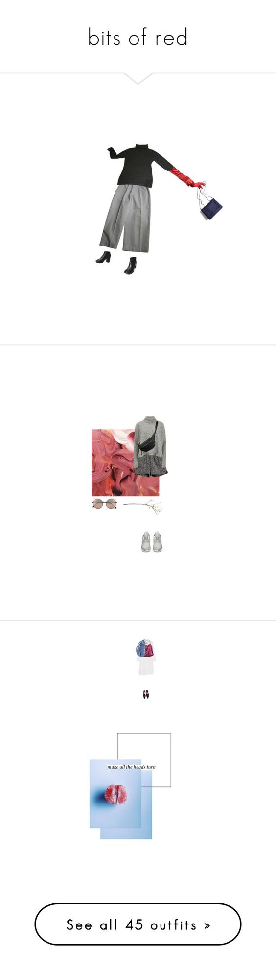 """""""bits of red"""" by emma-woolf ❤ liked on Polyvore featuring Maison Margiela, Yves Saint Laurent, Nina Ricci, 3.1 Phillip Lim, women's clothing, women, female, woman, misses and juniors"""