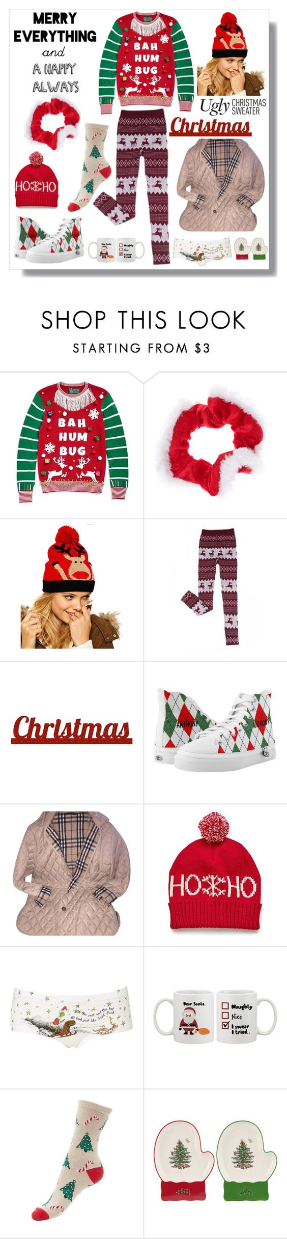 """""""uglychristmassweater"""" by bellamonica ❤ liked on Polyvore featuring Ugly Christmas Sweater, Chicnova Fashion, Sixtrees, Burberry, Topshop, Spode, women's clothing, women's fashion, women and female"""