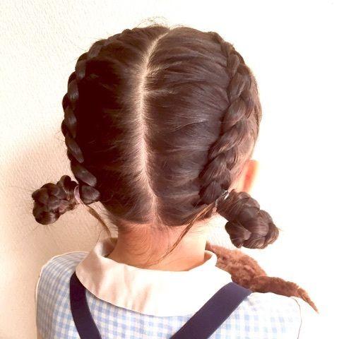 編み込みアレンジ 幼稚園始業式 子供髪型 女の子 女の子 髪型