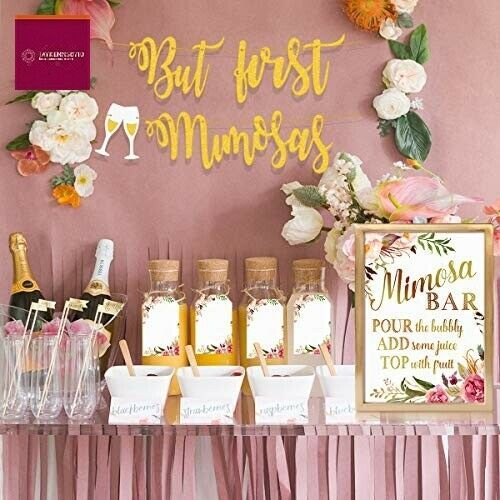 Mordun Mimosa Bar Sign Banner Tags Gold Floral Decorations For Baby Shower Premium Mimosa Bar Bridal Shower Bridal Shower Champagne Bridal Shower Planning