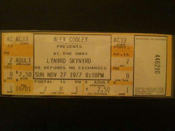 lynyrd skynyrd 1977 concert ticket original lynyrd skynyrd pinterest concerts. Black Bedroom Furniture Sets. Home Design Ideas