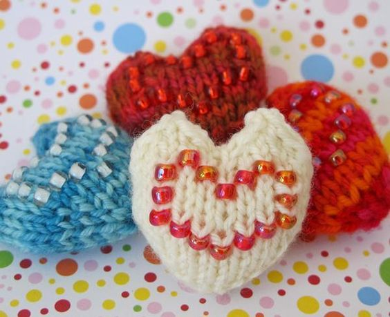 hearts with beads