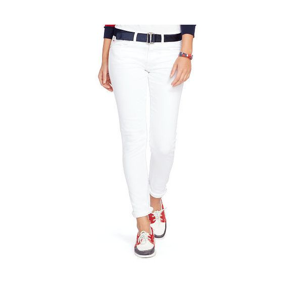 Polo Ralph Lauren Team Usa Ceremony Skinny Jean (8,865 DOP) ❤ liked on Polyvore featuring jeans, denim skinny jeans, white super skinny jeans, white skinny jeans, white skinny leg jeans and american skinny jeans
