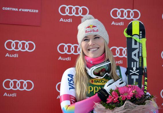 lindsey vonn, on the podium