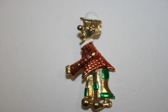 WOW+Vintage+Nice+Golden+CLOWN+Funny+Hobo+Costume+Brooch+Pin+RARE+