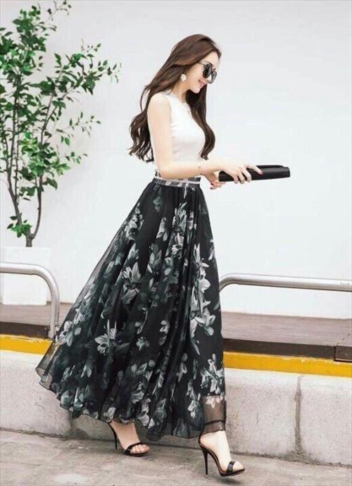 Shop đầm Vay đẹpđầm Maxi Hoa Trắng đen Xinh Xắn Long Skirt Fashion Indian Fashion Dresses Fashion Attire