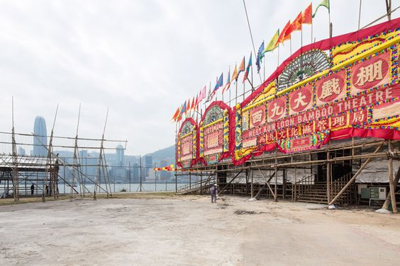 bamboo theatre pops up in west kowloon cultural district, hong kong, china