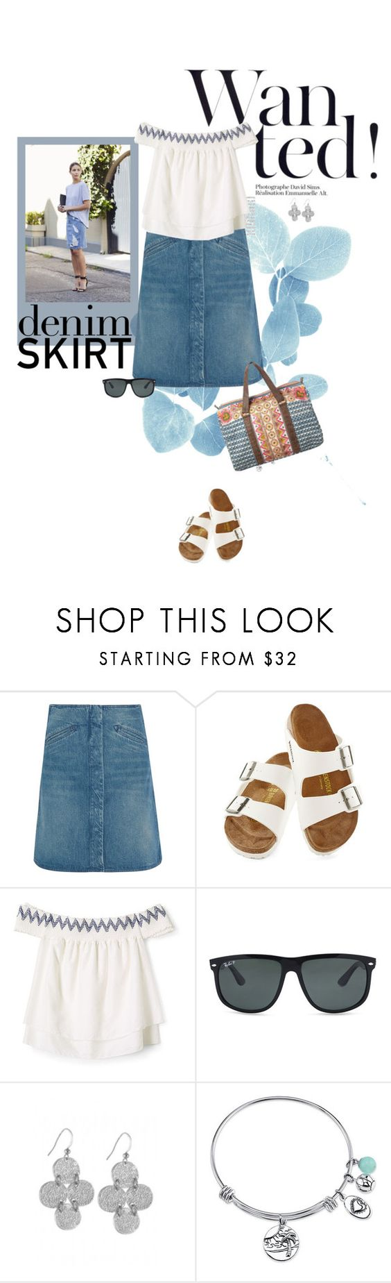 """""""Cute Denim Skirt"""" by likepolyfashion ❤ liked on Polyvore featuring MiH Jeans, Birkenstock, Rebecca Minkoff, Ray-Ban, Karen Kane, Footnotes Too and denimskirt"""