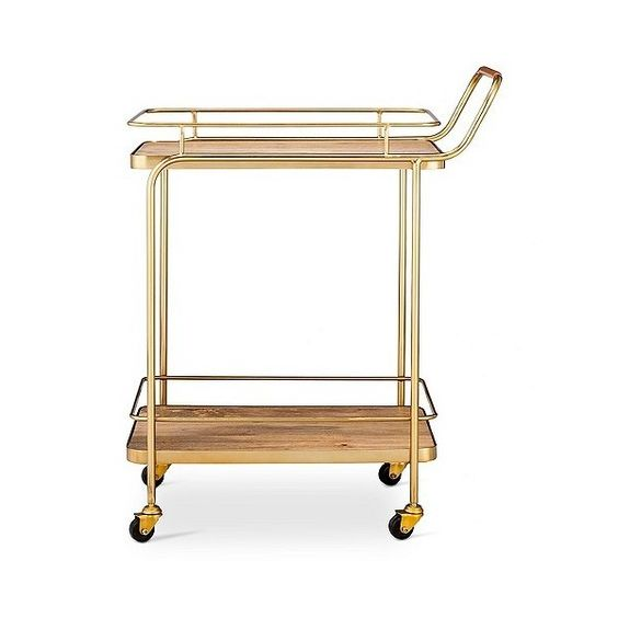 Metal, Wood, and Leather Bar Cart ($97) ❤ liked on Polyvore featuring home, kitchen & dining, bar tools, gold, threshold bar cart, mobile storage cart, outdoor serving carts, wooden cart and outdoor beverage cart
