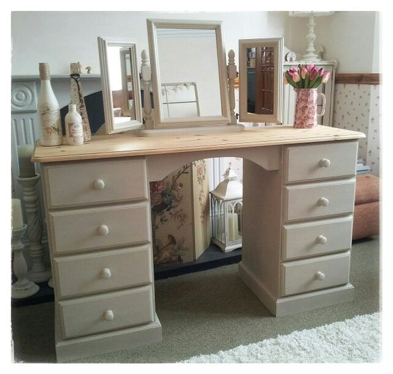 Solid Pine Dressing Table And Mirror In Autentico Chalk