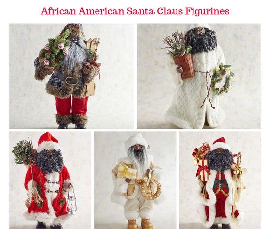 African American Santa Claus Figurines