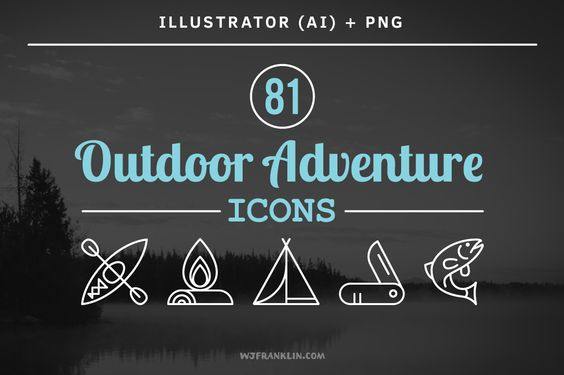 81 Outdoor Adventure Icons by Wes Franklin on @creativemarket