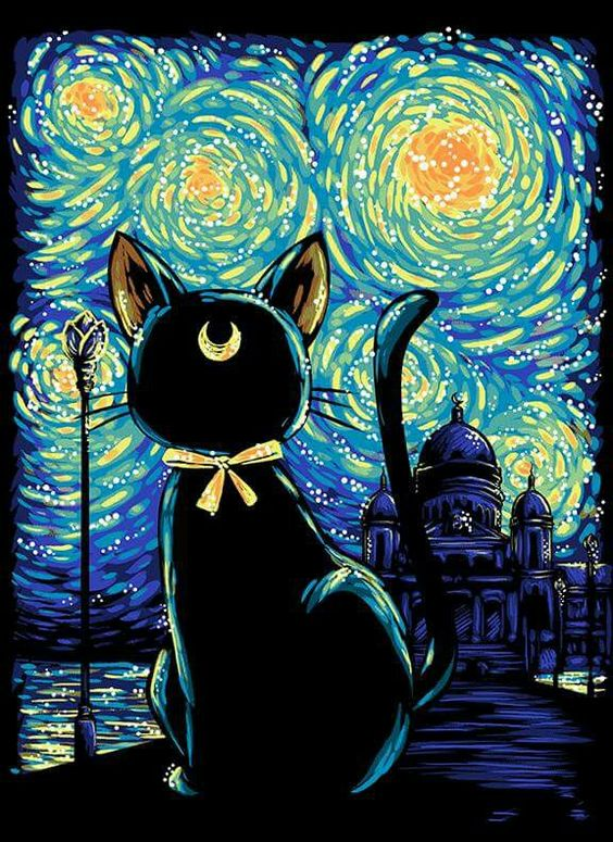 Love this starry night mash up of Luna. May have to screen print this.