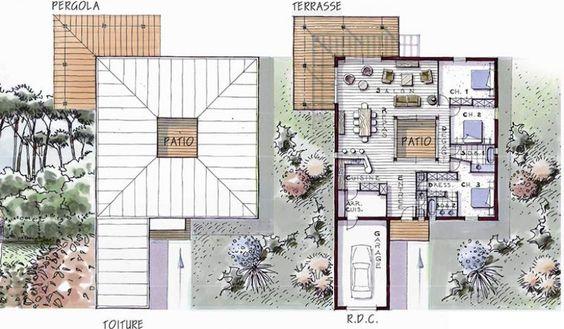 plan maison plain pied bois patio soleo 146