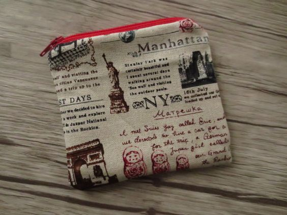 TRAVEL COIN PURSE , New York, Manhatta, United States, japanese cotton,  travel journal, travel purse, credit card case, small gift by BlackInkAndFabrics #italiasmartteam #etsy