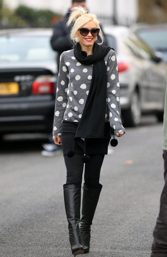 Gwen Stefani plays with polka dots, and adds an edge with leather boots and skinny jeans.