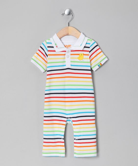 Yellow & Red Stripe Playsuit - Infant