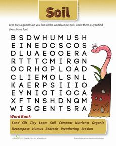 Soil word search words worksheets and a more for Words to describe soil