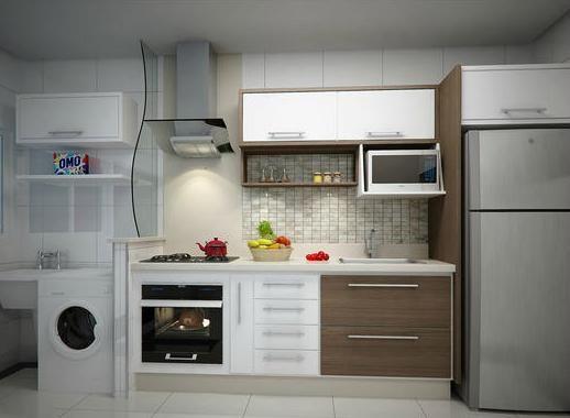 Cozinha corredor com divisor de lavanderia de vidro